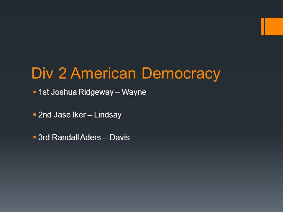 Div 2 American Democracy  1st Joshua Ridgeway – Wayne  2nd Jase Iker – Lindsay  3rd Randall Aders – Davis