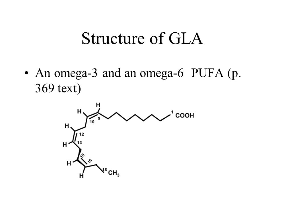 Structure of GLA An omega-3 and an omega-6 PUFA (p. 369 text)