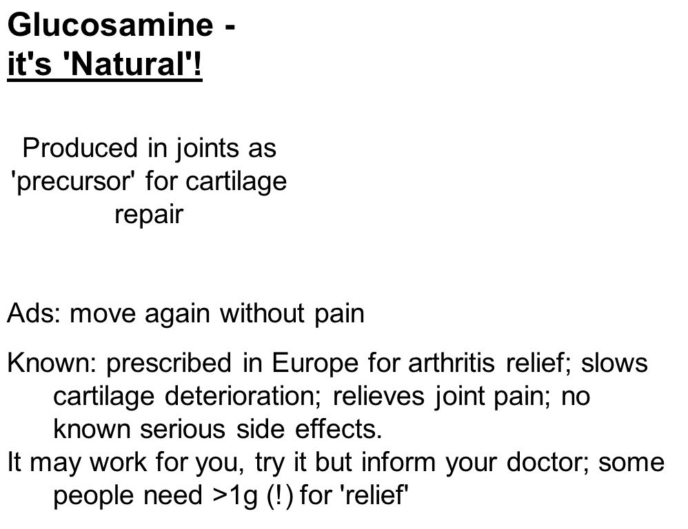 Glucosamine - it s Natural .