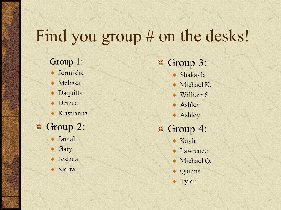 Find you group # on the desks.