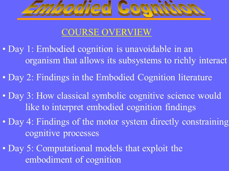 Day 1: Embodied cognition is unavoidable in an organism that allows its subsystems to richly interact Day 2: Findings in the Embodied Cognition litera