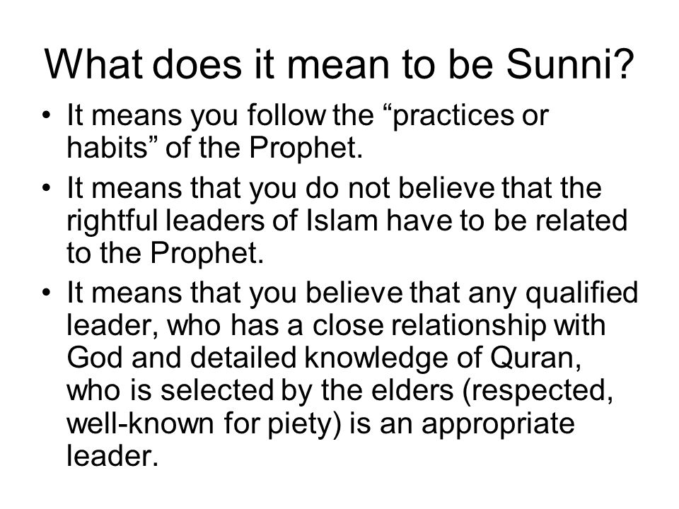 What does it mean to be Sunni. It means you follow the practices or habits of the Prophet.