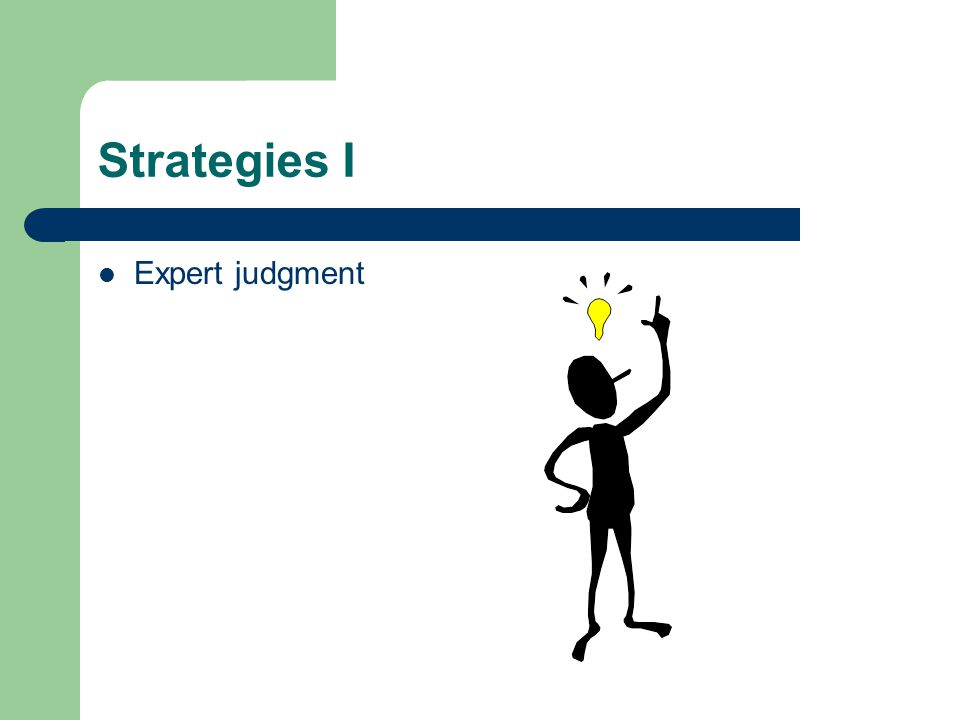 Strategies I Expert judgment
