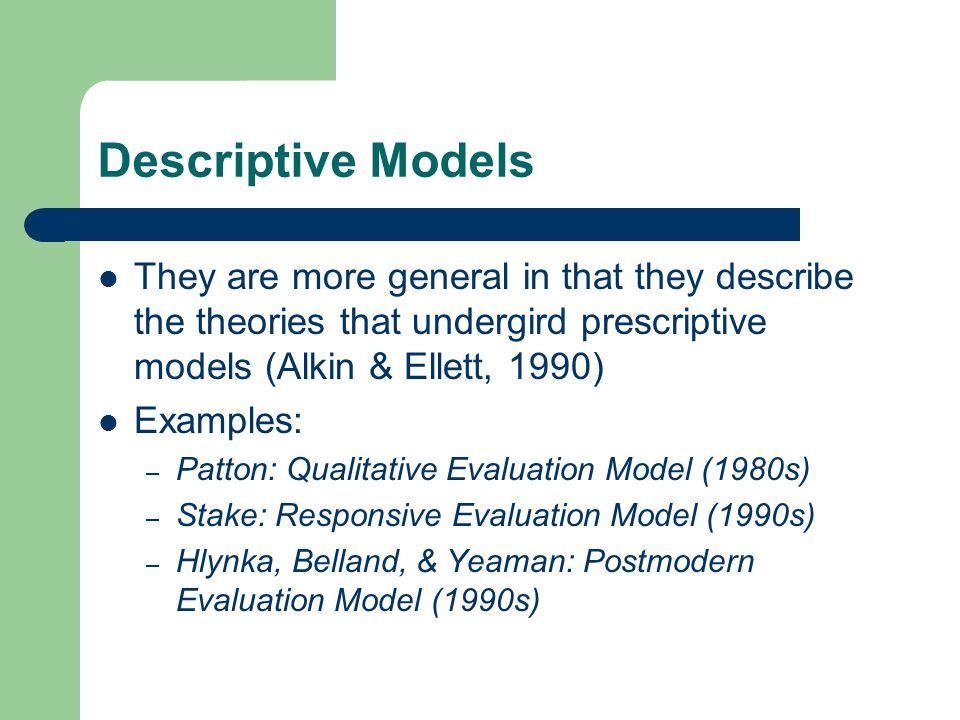 Responsive Evaluation Model This model is criticized for its subjectivity.