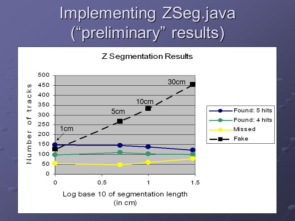 "Implementing ZSeg.java (""preliminary"" results) 1cm 5cm 10cm 30cm"