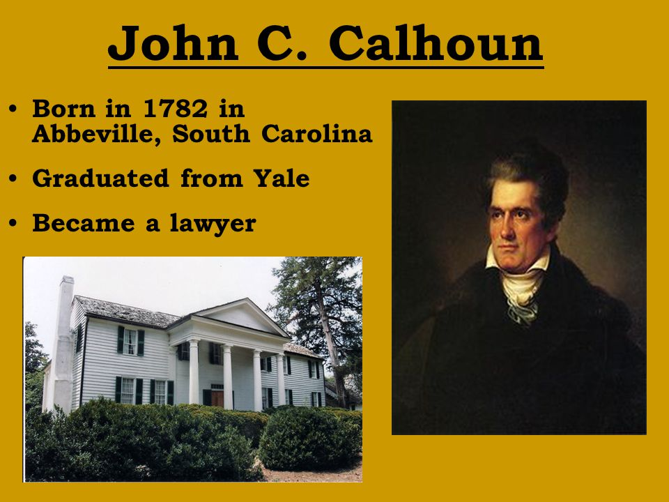 John C. Calhoun Born in 1782 in Abbeville, South Carolina Graduated from Yale Became a lawyer