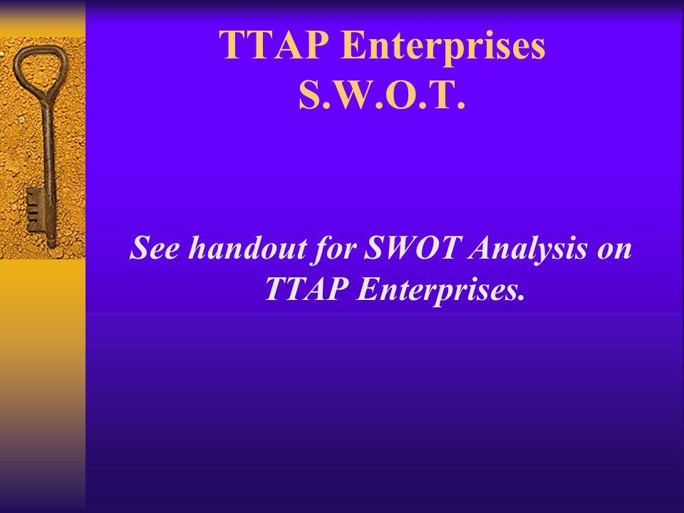 TTAP Enterprises S.W.O.T. See handout for SWOT Analysis on TTAP Enterprises.