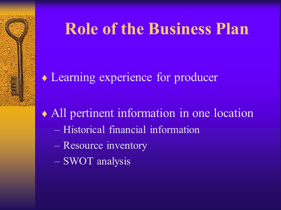 The Curriculum  Is there a need for a business planning curriculum in agriculture.
