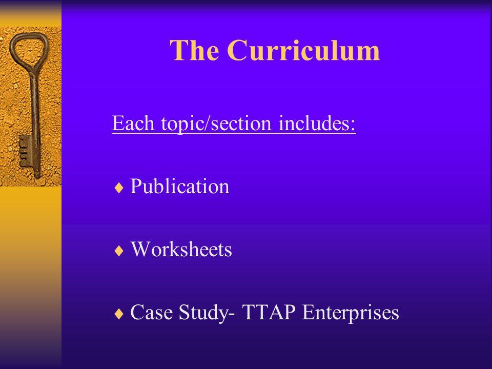 The Curriculum 1.Executive Summary 2. Business Organization 3.