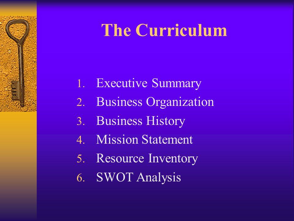 The Curriculum 1. Executive Summary 2. Business Organization 3.