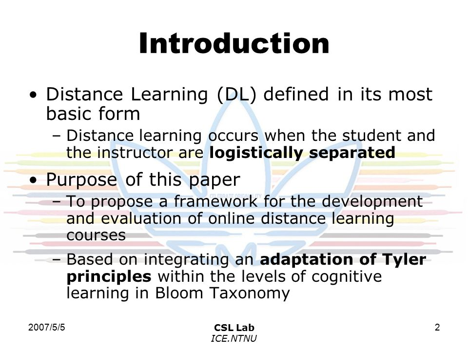 2007/5/5CSL Lab ICE.NTNU 3 Literature Review (1) Bloom Taxonomy 1.Knowledge- remembering previously learned material 2.Comprehension- grasping the meaning of material 3.Application- using learned material in new and concrete situations 4.Analysis- breaking down material into its component parts and understand its organizational structure 5.Synthesis- assembling parts together to form a new whole 6.Evaluation- judging the value of material for a given purpose 知識 / 理解 / 應用 / 分析 / 綜合 / 評鑑