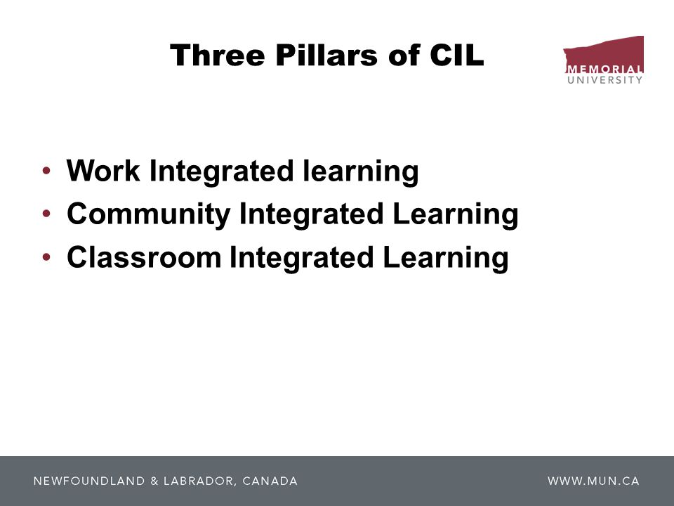 Three Pillars of CIL Work Integrated learning Community Integrated Learning Classroom Integrated Learning