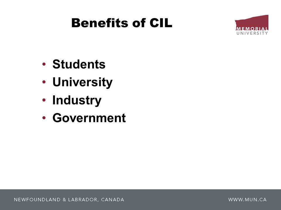 Benefits of CIL Students University Industry Government