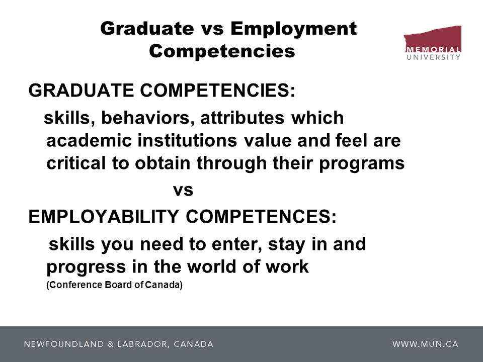 Graduate vs Employment Competencies GRADUATE COMPETENCIES: skills, behaviors, attributes which academic institutions value and feel are critical to obtain through their programs vs EMPLOYABILITY COMPETENCES: skills you need to enter, stay in and progress in the world of work (Conference Board of Canada)