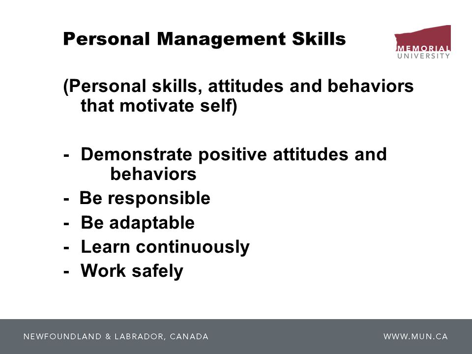Personal Management Skills (Personal skills, attitudes and behaviors that motivate self) -Demonstrate positive attitudes and behaviors - Be responsibl