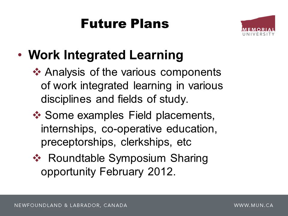 Future Plans Work Integrated Learning  Analysis of the various components of work integrated learning in various disciplines and fields of study.