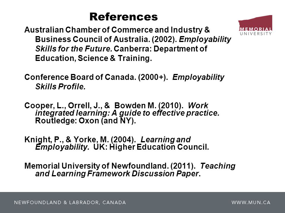 References Australian Chamber of Commerce and Industry & Business Council of Australia.