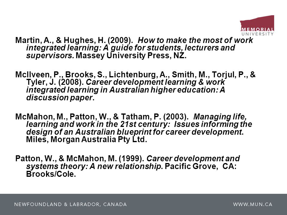 Martin, A., & Hughes, H. (2009). How to make the most of work integrated learning: A guide for students, lecturers and supervisors. Massey University