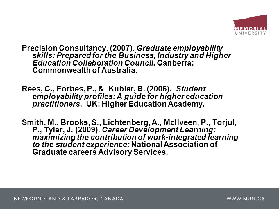 Precision Consultancy. (2007). Graduate employability skills: Prepared for the Business, Industry and Higher Education Collaboration Council. Canberra