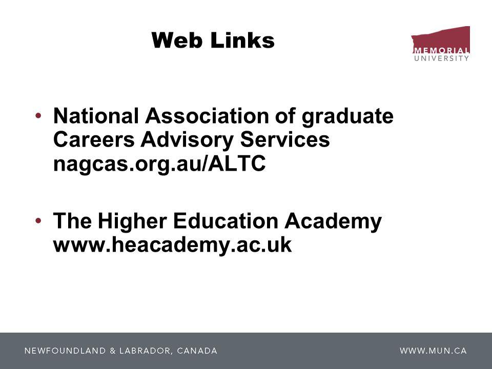 Web Links National Association of graduate Careers Advisory Services nagcas.org.au/ALTC The Higher Education Academy www.heacademy.ac.uk