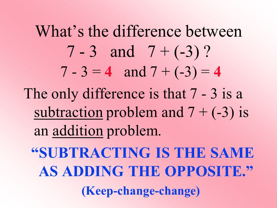 What's the difference between 7 - 3 and 7 + (-3) ? 7 - 3 = 4 and 7 + (-3) = 4 The only difference is that 7 - 3 is a subtraction problem and 7 + (-3)