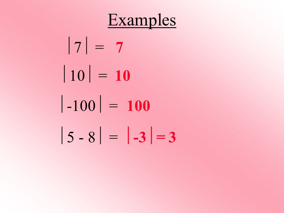 Examples  7  = 7 10 100  10  =  -100  =  5 - 8  =  -3  = 3