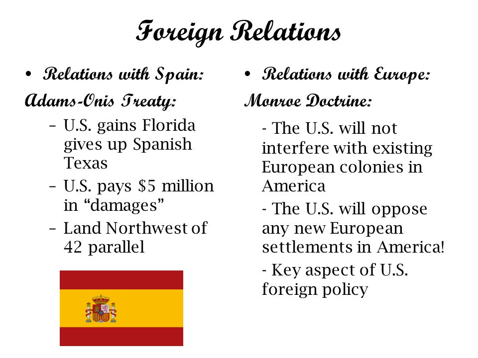 Foreign Relations Relations with Spain: Adams-Onis Treaty: –U.S.
