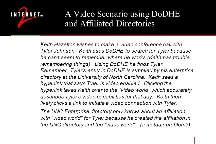 A Video Scenario using DoDHE and Affiliated Directories Keith Hazelton wishes to make a video conference call with Tyler Johnson.