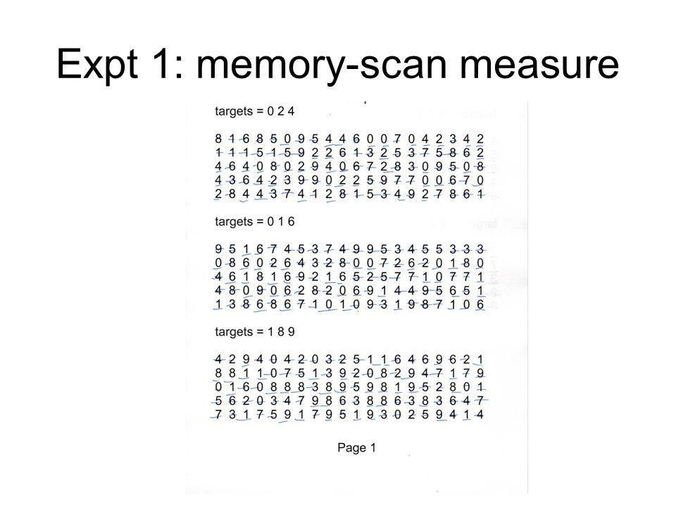 Expt 1: memory-scan measure