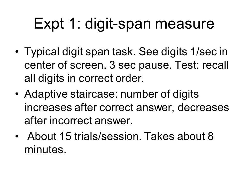 Expt 1: digit-span measure Typical digit span task.