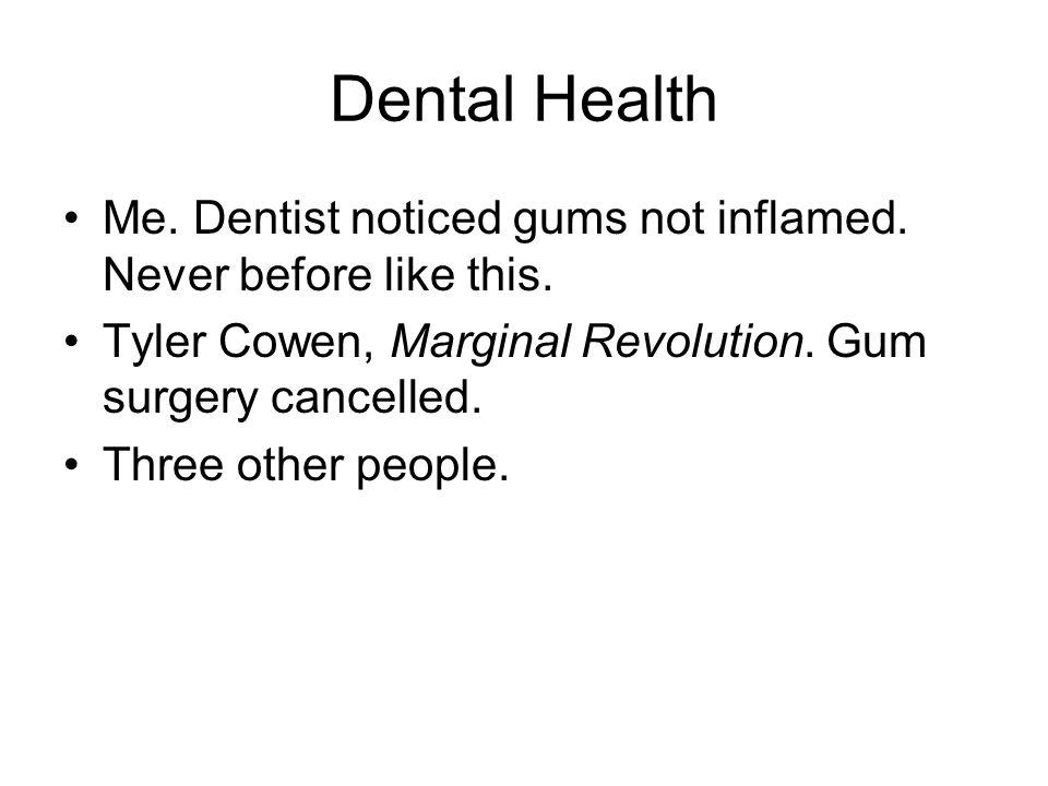 Dental Health Me. Dentist noticed gums not inflamed.