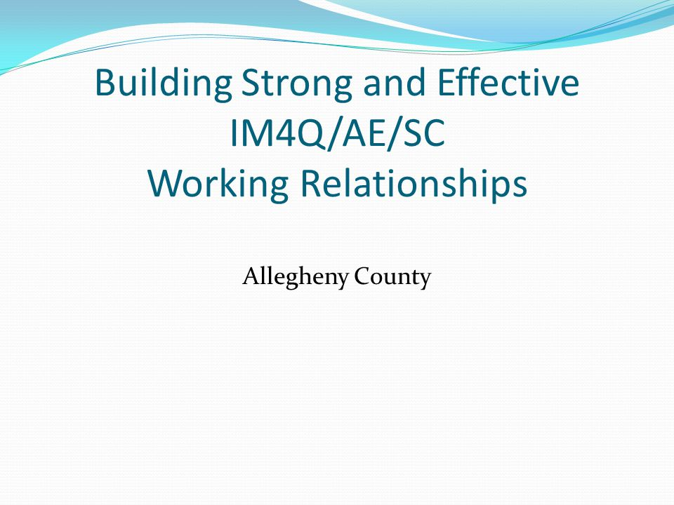 Importance of creating and maintaining positive working relationships  Supports coordinators, local programs, other AE s and providers are a team.