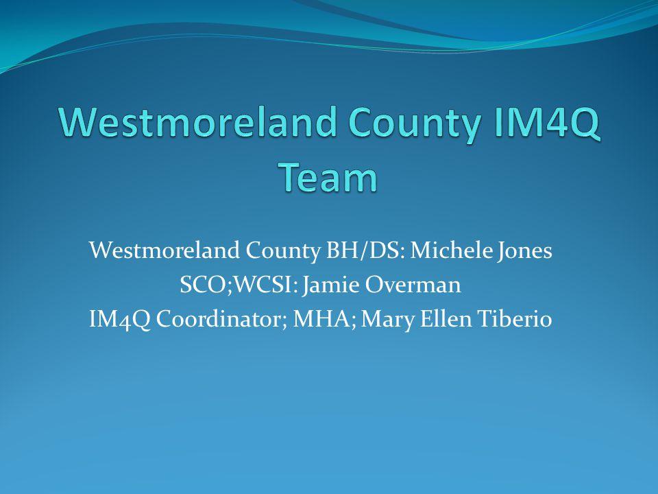 Westmoreland County BH/DS: Michele Jones SCO;WCSI: Jamie Overman IM4Q Coordinator; MHA; Mary Ellen Tiberio