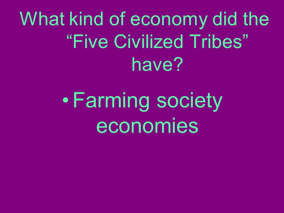 What kind of economy did the Five Civilized Tribes have Farming society economies