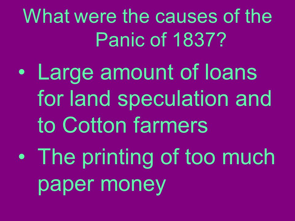 What were the causes of the Panic of 1837.