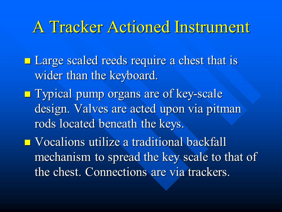 A Tracker Actioned Instrument Large scaled reeds require a chest that is wider than the keyboard.