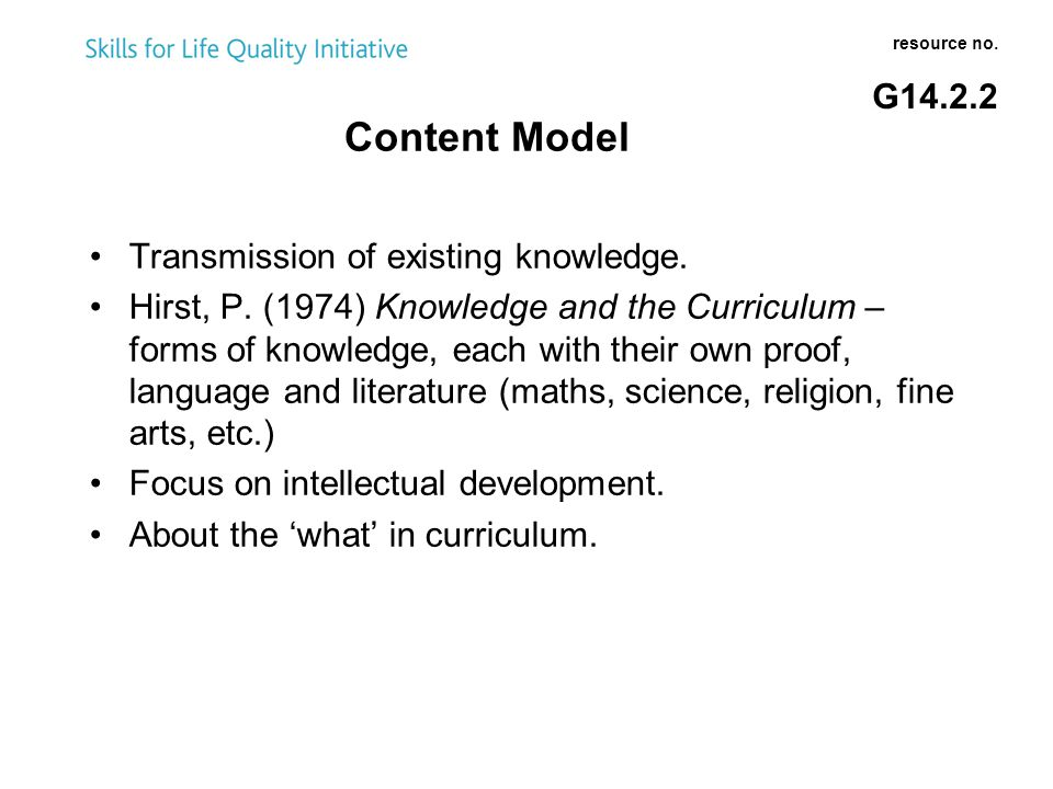 Content Model resource no. G14.2.2 Transmission of existing knowledge.