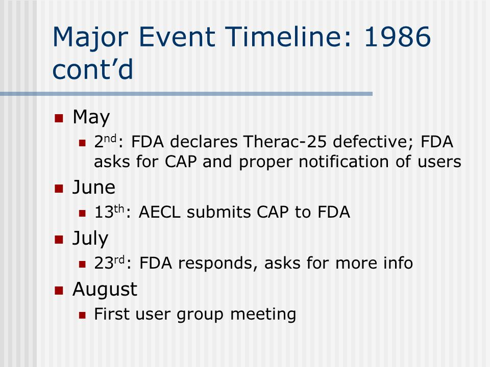 Major Event Timeline: 1986 cont'd May 2 nd : FDA declares Therac-25 defective; FDA asks for CAP and proper notification of users June 13 th : AECL submits CAP to FDA July 23 rd : FDA responds, asks for more info August First user group meeting