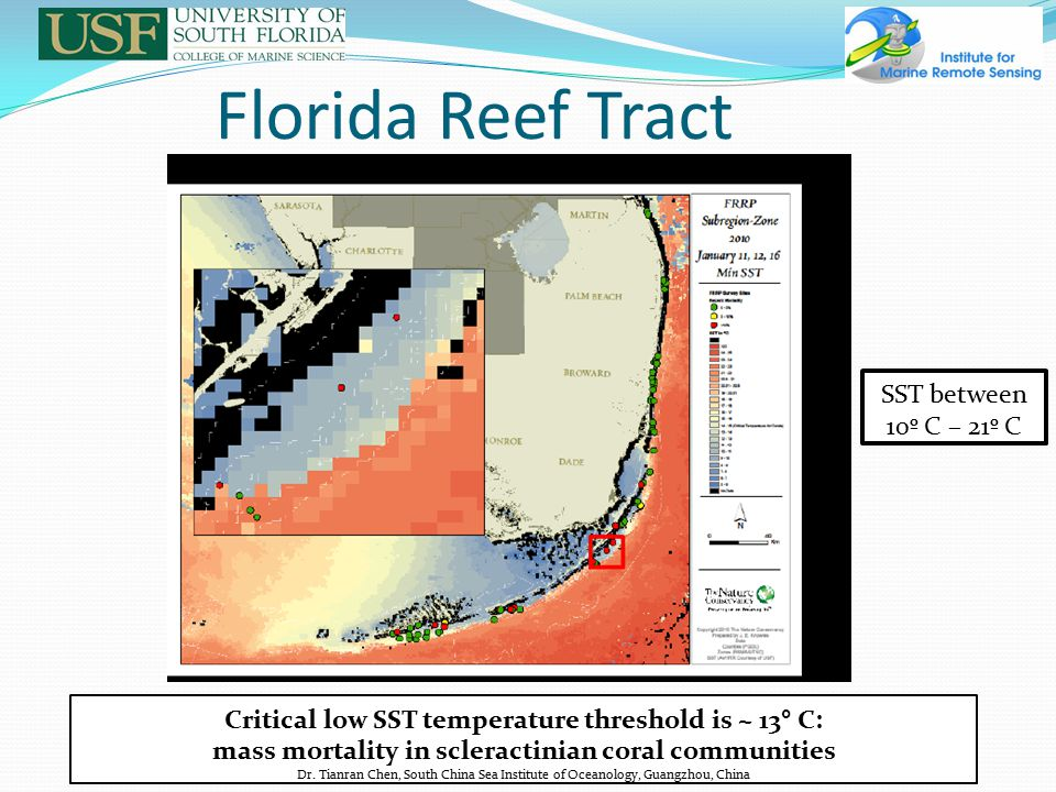 Florida Reef Tract SST between 10º C – 21º C Critical low SST temperature threshold is ~ 13° C: mass mortality in scleractinian coral communities Dr.