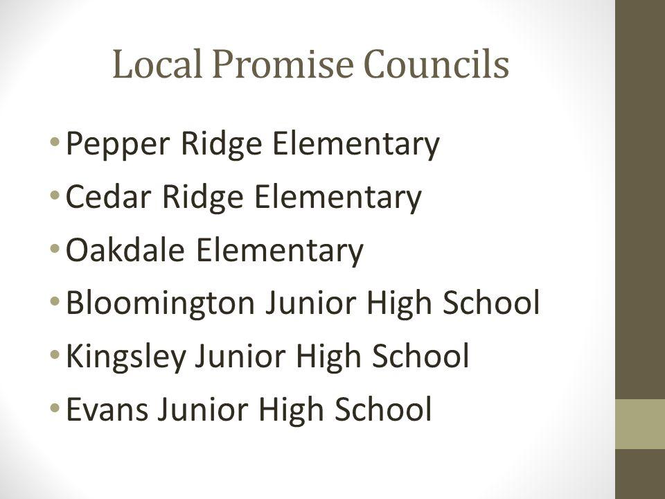 Local Promise Councils Pepper Ridge Elementary Cedar Ridge Elementary Oakdale Elementary Bloomington Junior High School Kingsley Junior High School Evans Junior High School