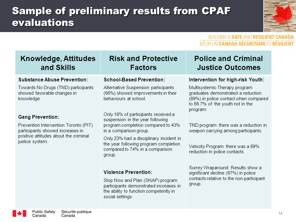 Sample of preliminary results from CPAF evaluations 14 Knowledge, Attitudes and Skills Risk and Protective Factors Police and Criminal Justice Outcomes Substance Abuse Prevention: Towards No Drugs (TND) participants showed favorable changes in knowledge.