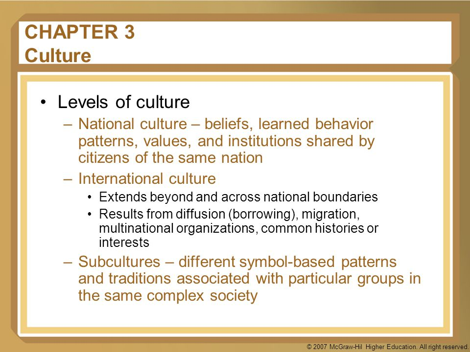 © 2007 McGraw-Hil Higher Education. All right reserved. CHAPTER 3 Culture Levels of culture –National culture – beliefs, learned behavior patterns, va