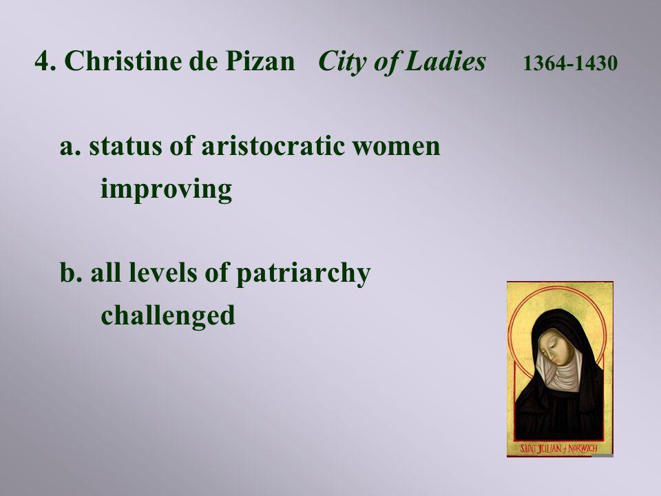 4.Christine de Pizan City of Ladies 1364-1430 a. status of aristocratic women improving b.