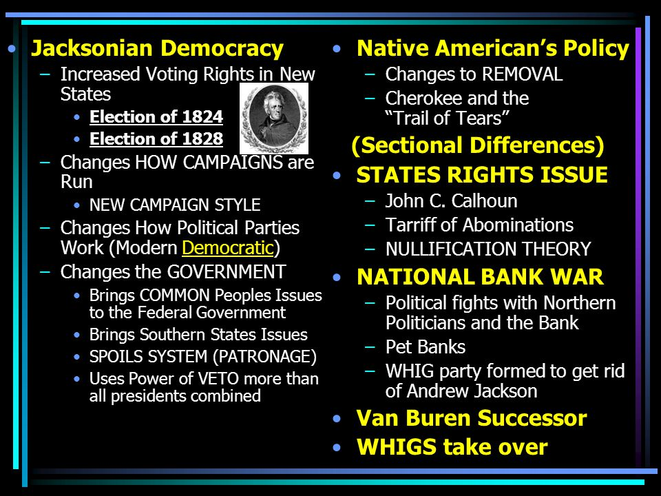 Jacksonian Democracy –Increased Voting Rights in New States Election of 1824 Election of 1828 –Changes HOW CAMPAIGNS are Run NEW CAMPAIGN STYLE –Chang