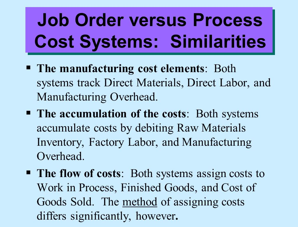 Job Order versus Process Cost Systems: Similarities  The manufacturing cost elements: Both systems track Direct Materials, Direct Labor, and Manufact