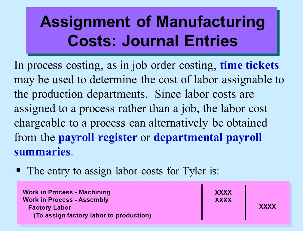 In process costing, as in job order costing, time tickets may be used to determine the cost of labor assignable to the production departments. Since l