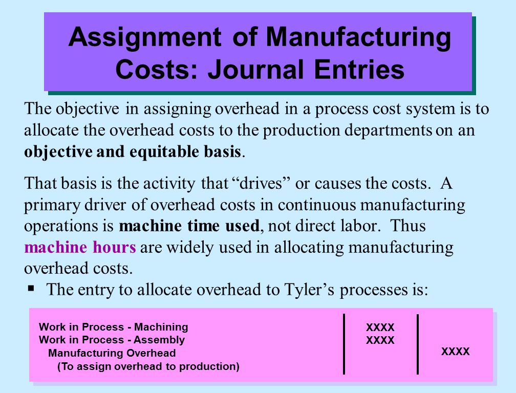 The objective in assigning overhead in a process cost system is to allocate the overhead costs to the production departments on an objective and equitable basis.