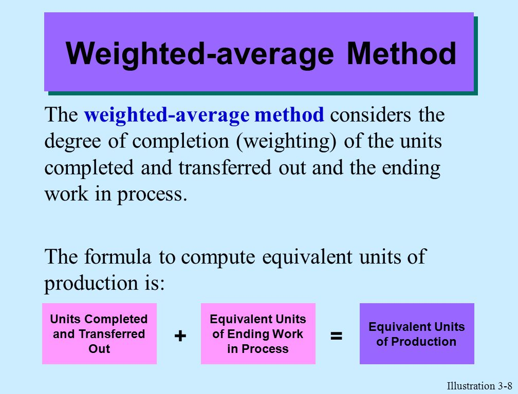 Weighted-average Method The weighted-average method considers the degree of completion (weighting) of the units completed and transferred out and the