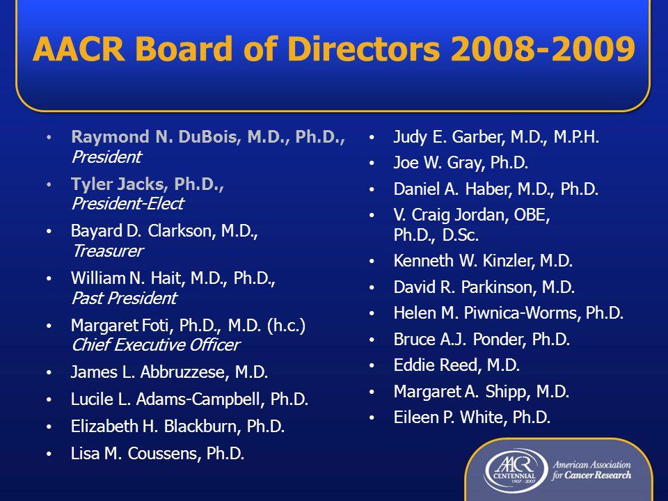 AACR Board of Directors 2008-2009 Raymond N. DuBois, M.D., Ph.D., President Tyler Jacks, Ph.D., President-Elect Bayard D. Clarkson, M.D., Treasurer Wi