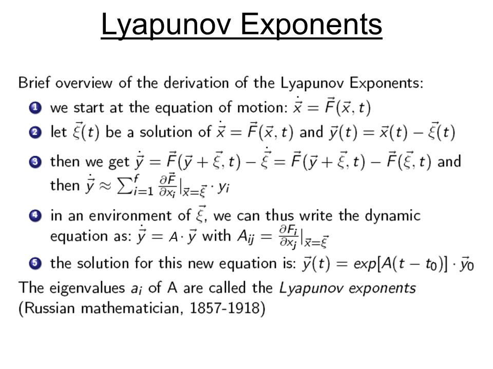 Concepts of Chaos Theory Lyapunov Exponents 1 2 Alexander BrunnerChaos and Stability